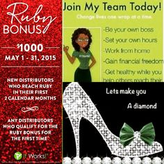 """Proverbs 23:7 """"As A Man Thinks, So Is He""""  Just 2 DAYS LEFT to join my Diamond Team & take advantage of the $1,000 DOUBLE RUBY BONUS!!  I need 5 STRONG WOMEN who are ready to take control!!  Ladies Money Is On The Table! - $600-$2,000/month plus $1,000 double RubyBonus plus wrap cash plus weekly bonuses!!   All the products are natural, support excellent nutrition & help you lose weight!!   The health & wellness industry is on fire right now!! So don't let this opportunity pass you by…"""