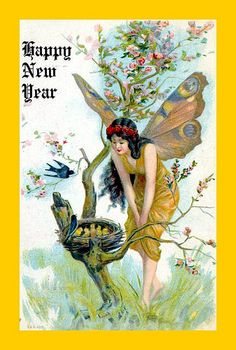 "Wishing you a ""fairy"" happy New Year! lovely vintage new year card. Vintage Greeting Cards, Vintage Christmas Cards, Vintage Holiday, Vintage Postcards, Vintage Images, Vintage Happy New Year, Happy New Year Cards, New Year Greetings, New Year Postcard"