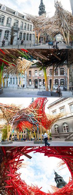 "Arne Quinze creates ""The Passenger"", a massive street installation in Mons, Belgium"