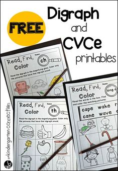 digraph and CVCe printables Free and fun digraph and long vowel CVCe practice!Free and fun digraph and long vowel CVCe practice! Teaching Phonics, Phonics Activities, Kindergarten Worksheets, Teaching Reading, Guided Reading, Learning, Reading Activities, Teaching Ideas, Kindergarten Assessment