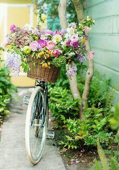 Colorful flowers + bike basket