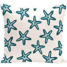 Simply Daisy 16 inch x 16 inch Soft Starfish Geometric Print Pillow, Blue