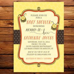 This cute bumble bee themed baby shower invitation will surely please all your guests and more importantly, the mommy-to-be! This invitation comes in digital format. It will be delivered straight to your email account as a jpg file or pdf if you prefer.  Just use the file to print at home or any print shop of your choice. You save both time and money.  Ready to order? See detailed instructions below.