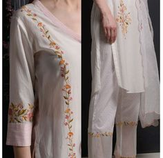 Embroidery with resham and attractive color combinations. Embroidery Suits Punjabi, Kurti Embroidery Design, Embroidery Fashion, Embroidery Dress, Kurta Designs, Blouse Designs, Kurta Neck Design, Boutique Suits, Cotton Suit