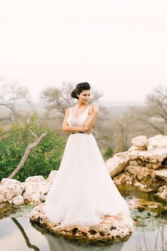 Princess style wedding dress | Mint Photography | see more on: http://burnettsboards.com/2014/08/monets-water-lilies-wedding-inspiration-shoot/