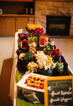 Buffet setup. A photo of a wedding at Robinswood House