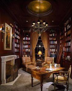 42 Inspiring Home Library Room Design Ideas Cozy Library, Library Room, Dream Library, Library Ideas, Future Library, Beautiful Library, Beautiful Life, Home Library Design, Home Office Design
