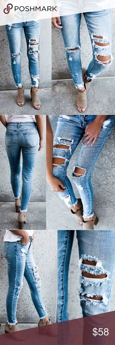 Distressed Frayed Ankle Denim Jeans Distressed Frayed Ankle Denim Jeans  Denim is Cotton & Spandex blend.  Color & Distressed holes are all unique to every pair of jeans.  They are made from our best selling denim brand and are super soft with stretch!  Price is FIRM Unless Bundled.  ❣️Limited Sizes Available ❣️ Size Chart 1 (24) 3 (25) 5 (26) 7 (27) 9 (28) 11 (29) 13 (30) 15 (31) Glamvault Jeans