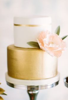 Two-Tiered White-and-Gold Wedding Cake   Wedding Cake