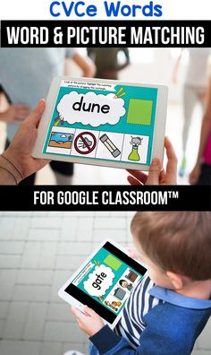 Looking for ideas for the google classroom for your kindergarten, first grade or special education kids? These activities are perfect for teachers to use in the classroom or for parents to use for homeschool. These CVCe word activities for beginners replace old and outdated worksheets. You can use them while distance learning to make learning CVCe words with pictures, long a, long i, long o or long u easier. #googleclassroom #cvcewords #digitallearning #distancelearning Less