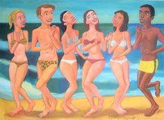 Cuadro del artista Diego Manuel. Fiesta en la playa 3, acrylic on canvas, 95 x 130 cm, 2014