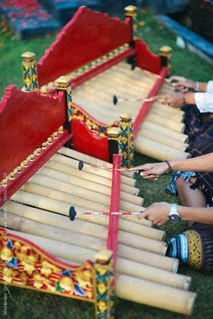 Bamboo Percussion Instrument Traditional bamboo xylophone from Bali. Gamelan Musical Instruments Of Bali.