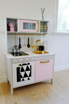 Kitchen, : Adorable Girl Room Decoration Design Ideas Using Light Pink Ikea Duktig Mini Kitchen Including Gold Brass Kitchen Sinks And Gold Brass Kitchen Sink Faucets