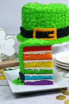 This Leprechaun Hat Cake is colorful, delicious, and is bound to wow your family and friends. French Vanilla Cake, Vanilla Cake Mixes, Vanilla Frosting, Bakery Style Cake, 12 Inch Cake, Purple Food Coloring, Hat Cake, Purple Cakes, Green Cake