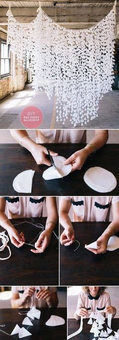 Deko Idee selber basteln: Tolle Hänge Girlande aus Papier für romantisches Ambiente