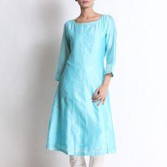 Sky Blue Chanderi Kurta With Pallazo Indian Salwar Kameez, Kurta Designs Women, Dresses With Sleeves, Sky, Suits, Long Sleeve, Casual, Blue, Fashion