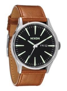 Nixon Sentry Leather Watch - Mens Black/Saddle, One Size: Watches: Amazon.com