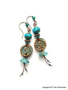 Boho--Whoa! Lush and gorgeous, these Boho-licious earrings put on a fabulous show of shapes and textures in a fresh teal color just right for spring and summer.  By Two Trees Studio.