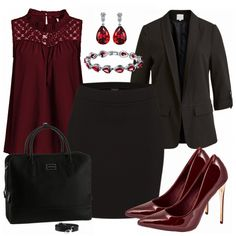 97993723f8 beautifullady Outfit - Business Outfits bei FrauenOutfits.de. Rote Bluse  OutfitSchwarze BlazerBüro ...