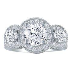 2.72ct 3 Diamond Ring Featuring a 1 1/2ct Center Diamond
