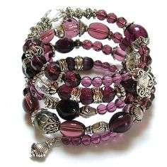 amethyst and silver memory wire bracelet