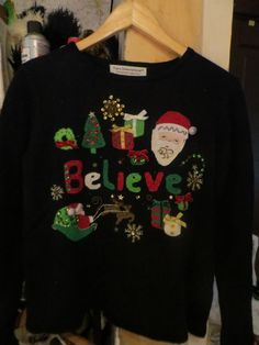 vintage 80s UGLY Christmas   Believe   by Linsvintageboutique
