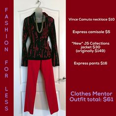 """Visit us at Clothes Mentor Palm Harbor and purchase your """"fashion for less""""!! #resalerocks #vincecamuto #express #jscollections  Vince Camuto necklace $10 Express camisole in size """"M"""" $5 JS Collections jacket in size """"M"""" $30 Express pants in size """"2"""" $16"""