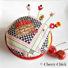 Cherry pincushion  with Decorative Pins, Pin Keep, Sewing, by Cherry Chick