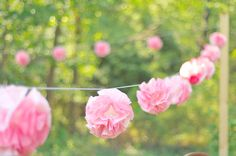 DIY coffee filter flowers! so pretty when strung up.