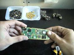 "http://www.goldnscrap.com Short video showing how and what to scrap in old cell phones and prepare them for gold and other precious metals recovery.    Also see the USGS pdf report ""Recycled Cell Phones—A Treasure Trove of Valuable Metals"" (2006):  http://pubs.usgs.gov/fs/2006/3097/fs2006-3097.pdf  But do not forget to adjust the prices to gold's cu..."