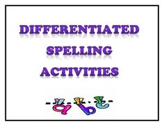 This document contains 40 differentiated spelling activities that can be used in any class no matter how many spelling lists are used in the classr. Spelling Word Activities, Spelling Games, Spelling Lists, Spelling Words, I Love School, Too Cool For School, School Stuff, Word Study, Word Work