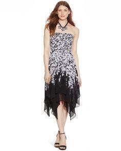 White House | Black Market Strapless Black and White Floral Dress #whbm