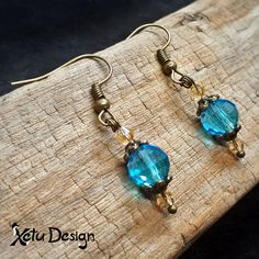 Blue and light brown crystal earrings with bronze by XetuDesign on Etsy Crystal Earrings, Crystal Jewelry, Drop Earrings, Handmade Shop, Handmade Jewelry, Unique Jewelry, Sell Items, Color Mixing, Opal