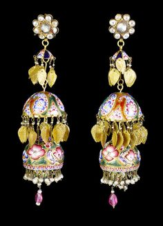 A pair of Qajar diamond-set enamelled gold Pendent Earrings   Persia, 19th Century  each comprising three hemispherical tiers and a faceted tear drop section with a paste,each with polychrome floral decoration and with fringe of foliate pendants, all suspended from a pearl and diamond-set rosette   each approx. 12.5 cm. long