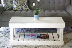 Slatted Bottom Coffee Table-White OR Natural - Coastal Living Room - Wood Coffee Table Coffee Tables For Sale, Rustic Coffee Tables, Coffee Table Design, Coffe Table, Unfinished Coffee Table, Coffee Table Inspiration, Table Storage, Pantry Storage, End Tables