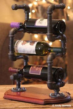 Neat, Steampunk Style Wine Rack | Designed and Copyrighted by Andy Nortnik.