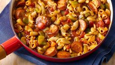 Bold Firehouse Sausage Creole Macaroni --- This delicious one-pot meal delivers on flavor and heartiness; your family will love the Creole flavors. Sausage Recipes, Pork Recipes, New Recipes, Cooking Recipes, Budget Recipes, Cajun Recipes, Popular Recipes, Healthy Cooking, Chicken Recipes