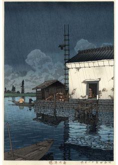 雨の牛堀 昭和4年(1929)作