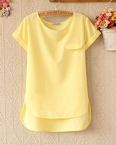 Spring and summer women's loose short-sleeved chiffon shirt – Tepayi; love that it's longer in the back