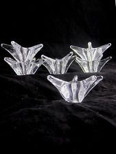 6 Vtg Daum France Star Flower Crystal Glass Votive Candleholder Candlestick