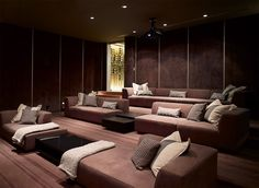 Media Room :: Spectacular minimalist home design in Los Angeles by SPF Architect. Media Room :: Spectacular minimalist home design in Los Angeles by SPF Architects Salas Home Theater, Home Theater Setup, Home Theater Seating, Home Theater Design, Movie Theater, Minimalist House Design, Minimalist Bedroom, Minimalist Home, Minimalist Interior