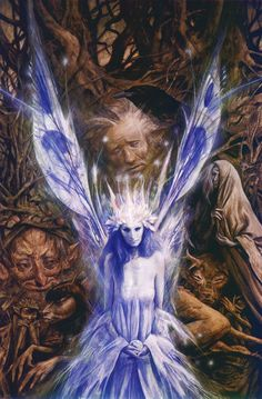 Fairy and fantasy art images, fairy pictures & drawings, flower and butterfly illustrations from Fairies World. Fairies World, Fairy & Fantasy Art Gallery - Brian Froud/Woodland Energy© Brian Froud, Woodland Creatures, Magical Creatures, Fantasy Creatures, Art Beauté, Elves And Fairies, Nature Spirits, Fantasy Kunst, The Dark Crystal