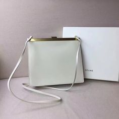 Celine 2017 Mini Clasp Shoulder Bag in White Natural Calfskin BLACK cdb4c1e492306