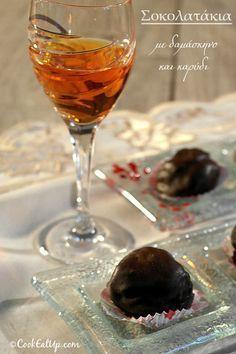 Σοκολατάκια με δαμάσκηνο και καρύδι ⋆ Cook Eat Up! Greek Sweets, Greek Desserts, Chocolate Caramels, Chocolate Treats, Cake Cookies, No Bake Cake, Sweet Recipes, Alcoholic Drinks, Dessert Recipes
