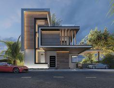 Exterior design _ modern villa on Behance Modern Villa Design, Modern Exterior House Designs, Modern Architecture House, Dream House Exterior, Facade Architecture, Exterior Design, Modern Houses, Adobe Photoshop, Model House Plan