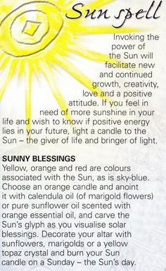 Magick Spells: Sun by StacieSue Magick Spells, Hoodoo Spells, Moon Spells, Green Witchcraft, Wicca Witchcraft, Witch Spell, Pagan Witch, White Witch, White Magic