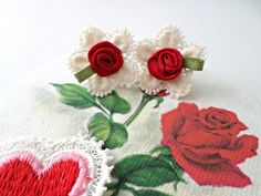 White Flower Doily With Red Fabric Roses On A Gold Post / Valentines Day Earrings / Vintage Looking Stud Earrings / Fabric Earrings by ThePinkCookie on Etsy https://www.etsy.com/listing/261966778/white-flower-doily-with-red-fabric-roses
