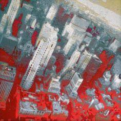 "Saatchi Art Artist Alberto Silva; Painting, ""North Manhattan skyline. grey version. 2 of 5."" #art"