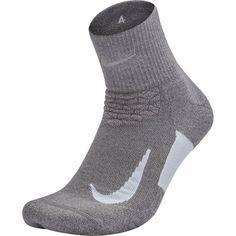 NIKE Unisex Spark Cushion Quarter Running Socks Gray/White - Men's style Running Socks, Nike Running, Nike Elite Socks, Nike Models, Black Socks, Cool Socks, Nike Dri Fit, Pairs, Mens Fashion