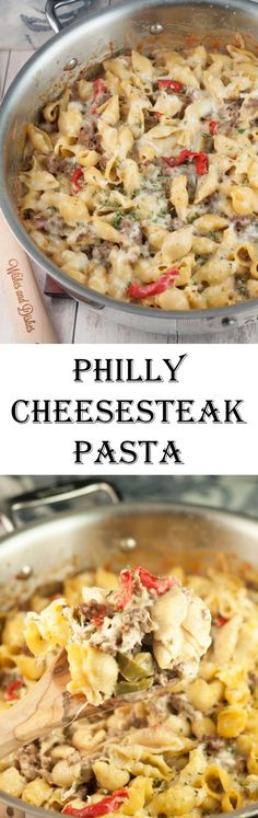 An easy dinner recipe for Philly Cheesesteak Pasta is a cheesy comfort food dish loaded with cheese and peppers that will become a new family favorite meal! easy dinner recipes for family Beef Recipes, Pasta Recipes, Cooking Recipes, Recipies, Seafood Recipes, Bratwurst Recipes, Vegan Recipes, Lasagna Recipes, Ramen Recipes